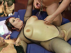 Emma Butt takes the loads over her tits while Kacie is fucked