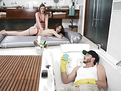 Handyman spying on bisexual masseuses