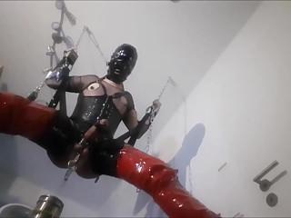 Suspended Hanging Sissy Slave Slut Cock Milking Titplay