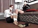 Two massively gagged girls struggle
