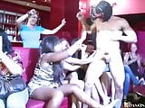Gorgeous women suck dick at Dancing Bear party