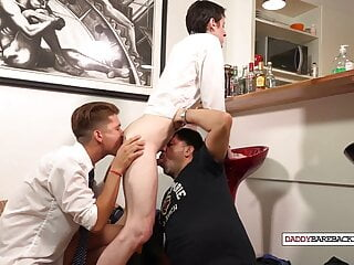 Asslicking twinks cocksucking and breeding with latin DILF