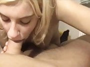 Cute blonde sucking big cock