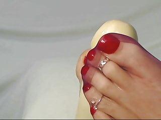 Kathy's ultra nylons in sandals sheer reinforce footjob