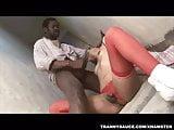 Tranny Thamara sucking and fucking an ebony stud