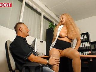 LETSDOEIT - Risky Office Sex With Deutsche Horny Granny