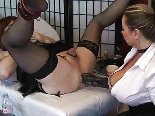 Gloved Busty Girl Fists the Sissy in The Ass By TROC
