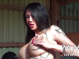 Tiny Busty Asian in the barn