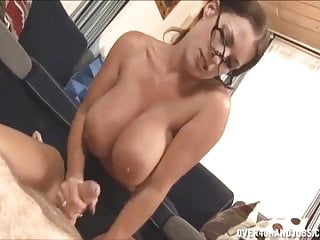 With jerking a cock...