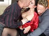 Brunette in Red Satin Blouse Threesome