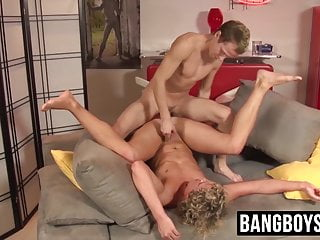Horny twink blows bud and gets bareback fucked...