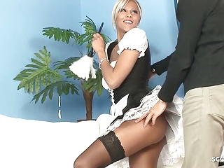 hot maid in stockings seduce to fuck by huge cock bossPorn Videos