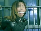 Leather catsuit bondage and gagging part