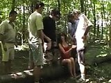 French Gangbang in forest