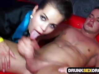 Hot boozed chicks trying out group sex