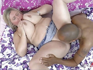 Mature Busty Blonde AgedLovE Interracial Blowjob