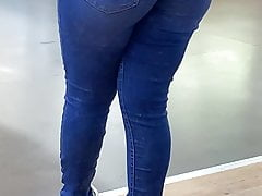 Blue jeans with VPL