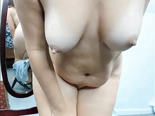 Mature woman masturbates solo in front of webcam...