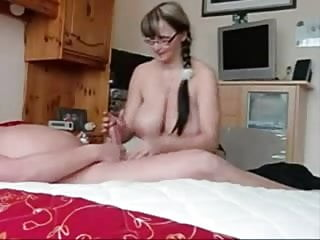 Really Busty Wife Strokes Cock