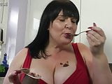 Huge breasted mature mother having sex with herself