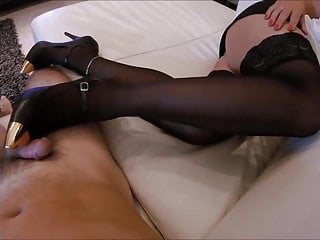 Brunette Footjob Milf video: Shoejob, cum on stockings and heels