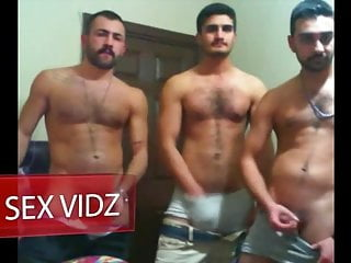Three arab hunks having a jerking off party...