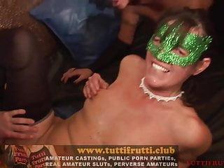 Public amateur gang bang porn record...