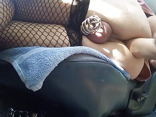 with large Sissy  plays dildo