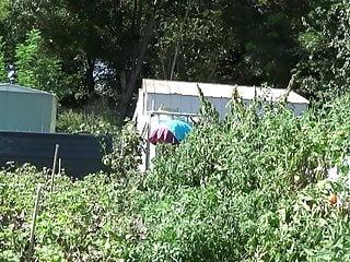 scholgi sissy toys transvestite garden lingerie outdoor anal