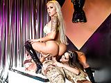 Jessica Jaymes & Nina Elle strip down & fuck a huge  cock