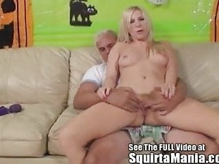 Sexy pornstar skinny blonde Ashley Fires sqirting for her fa