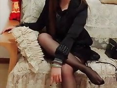 Asian girls woth long legs pantyhose and heels 13