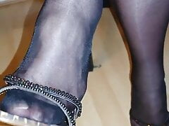 mom's shoe dangling in stinky pantyhose