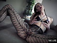 Skinny Cougar With Nip Forceps And Mesh Stockings