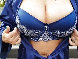 Old Flashes Titties in Public