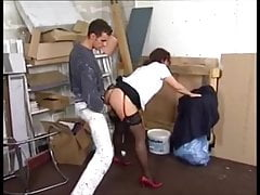 The decorator is seduced by horny brunette MILF in stockings