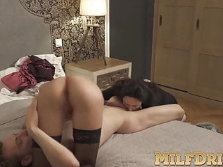 Anette Harper joins pussy licking MILF drilling threesome