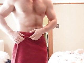 Bodybuilder shows his cock...