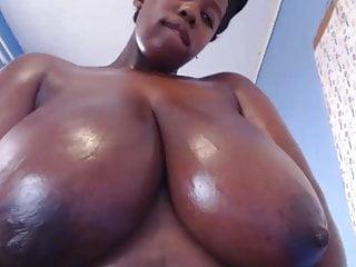 Massive african tits massaged up close...