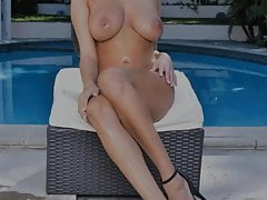 French bombshell loses her sexy bikini at the pool PART 1