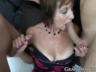 Granny in erotic underwear spit roasted through hung younger studs