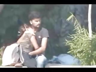 Indian couple having cock sucking and fingering in public park