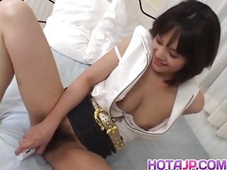Mako takeda spreads legs for rub her hairy...