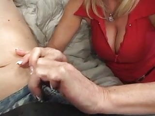 Milf with lovely tits sucks and fucks on...
