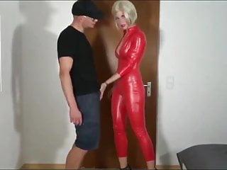 cat blonde red in ass slut latex fucked suit