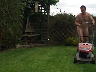 Mowing lawn naked