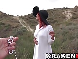 Public submission outdoor video with hot MILF redhead
