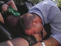 Stockings threesome outdoor