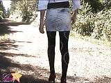 Sissy bitch exposed in a sexy walk outdoors