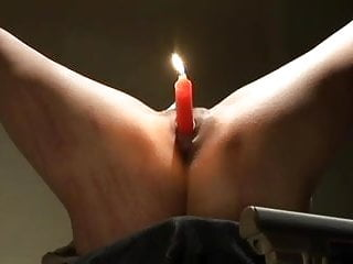 Candle in pussy...